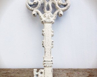 BOLD linen ivory white spring  ORNATE skeleton KEY wall decor // hand painted cast iron // wall art // victorian cottage chic