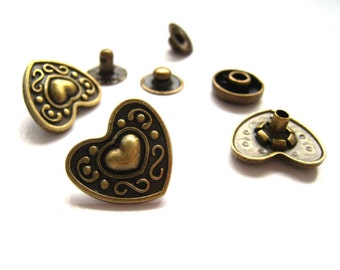 17 mm Antique Bronze Brass Heart Open Ring Snap Fastener Snap Button - Pack of 6sets
