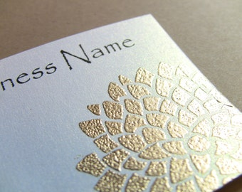 50 Handcrafted Handembossed Metallic Golden Flower Business Cards, Customize Your Colors and Fonts, Gold Floral, Shimmery Pearlescent White