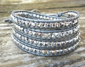 Beaded Leather Wrap Bracelet 4 or 5 Wrap with Silver Czech Glass Beads on Hematite Gray Silver Leather Summer