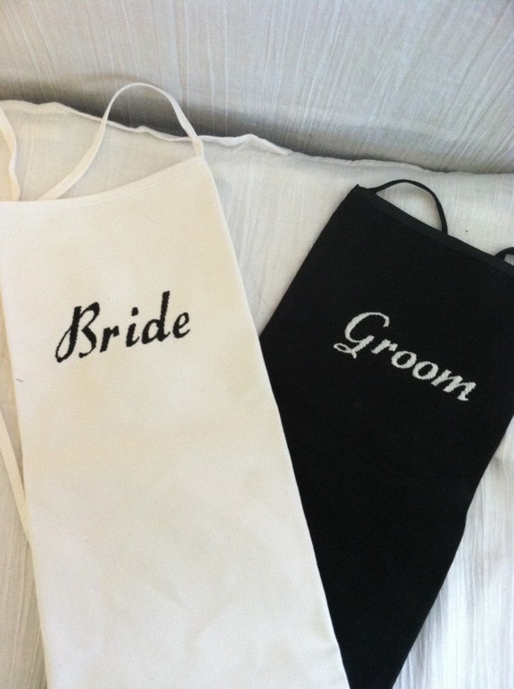 Embriodered Bride and Groom aprons / personalized aprons