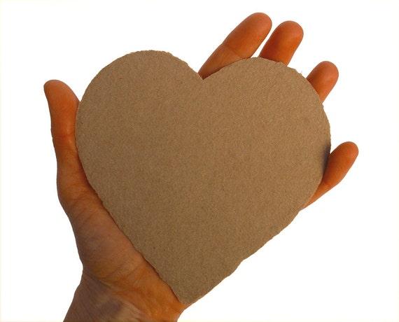 Big Kraft hearts, handmade paper, recycled, deckle edge, set of 10