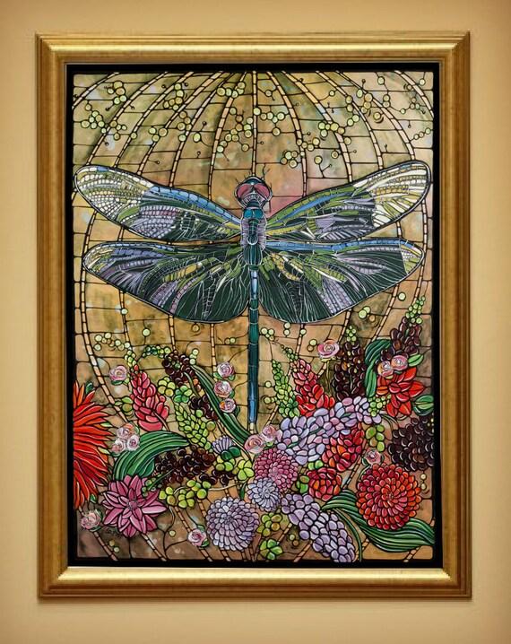 Dragonfly Art Nouveau Print Home Decor 8x10 By Theladybugcabin