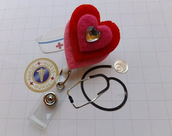 Retractable Badge Reel Hearts ID Swivel Clip i ID Badge Holder Name Badge Clips Nurse Gift