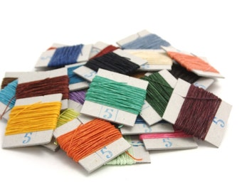 25m of Crawford's waxed 4-ply Linen Thread, your choice of up to  5 Colours