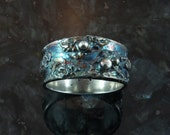 STORMY SKIES, fine silver ring size 7