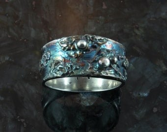 STORMY SKIES, fine silver ring - available by custom order