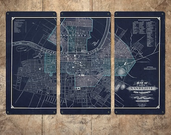 "Vintage Map of Nashville METAL Triptych 36x24"" FREE SHIPPING"