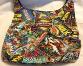 Vintage comic book inspired Hobo REVERSIBLE CrossBody Bag / purse