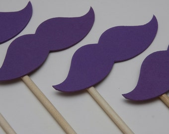 Photo Prop Wedding STACHE STICKS Dark Purple (Set of 6 large hand cut stache sticks in purple) Photography Booth