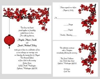 100 Personalized Custom Red Cherry Blossom Lantern Wedding Invitations Set