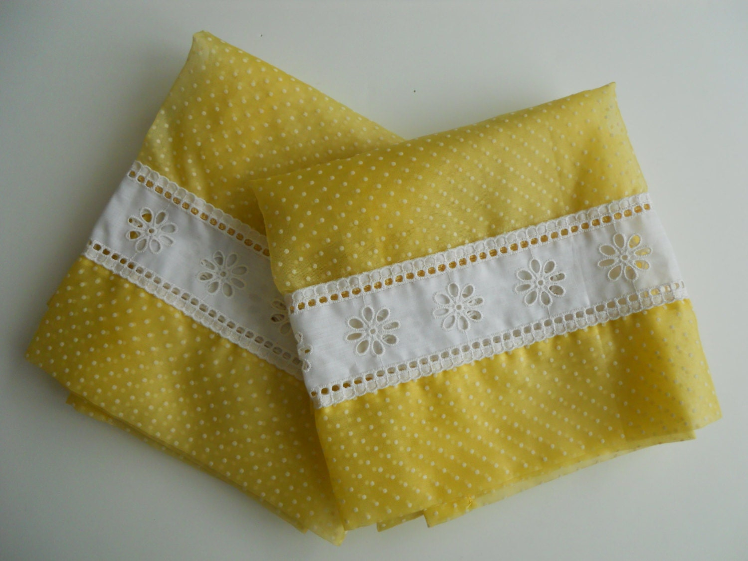 yellow dotted swiss kitchen curtains with valence 4 panels