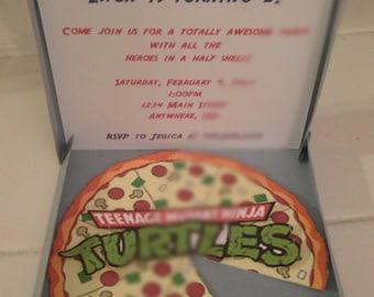 Teenage Mutant Ninja Turtles Pizza Box Invitation