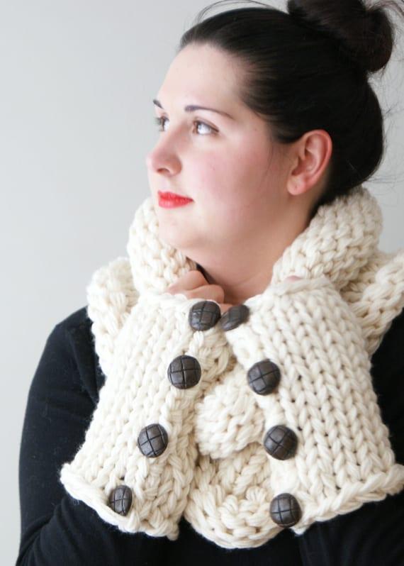 Pashmina Cowl Knitting Pattern : DIY Knitting PATTERN - Simple Chunky Knit Shawl Cowl and Arm-warmers (one-siz...