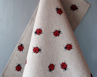 Linen Cotton Dish Towels Tea Towels Ladybug Red Black - Tea Towels set of 2