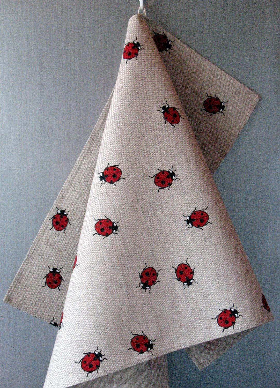 linen cotton dish towels tea towels ladybug red black tea. Black Bedroom Furniture Sets. Home Design Ideas