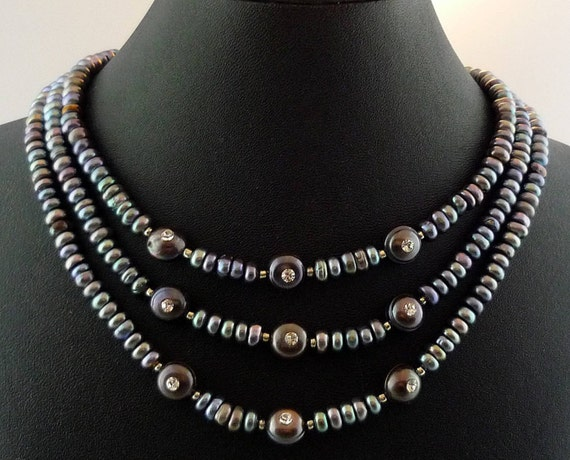 Fresh Water Pearls with Inset Crystal Choker Necklace & Earring Set -- Dark Pearls of Wisdom