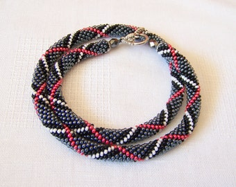 Beads crochet ropes necklace - Beadwork - Seed beads jewelry - Elegant - grey, black, white and red