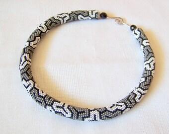 Bead crochet necklace with geometric pattern - Beaded rope necklace - Handmade jewelry - Beadwork - Grey white black