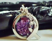 Purple diamond awareness shaker or floating charm locket necklace