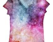 woman galaxy print top, t shirt and tank xs - plus size(134)