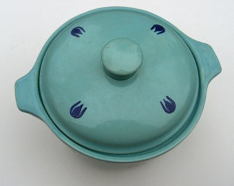 Cameron Clay Products - Pottery Blue Tulip Pattern - Bean Pot Casserole - 1950s - A&P Grocery Store Premium