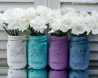 Painted & Distressed Mason Jar - Spring Colors