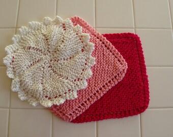 Heart to Heart, Set of Three Dishcloths, Valentine's Day, Handknit, Cotton, Dish cloth, Wash cloth, Kitchen, Dishes, Gift