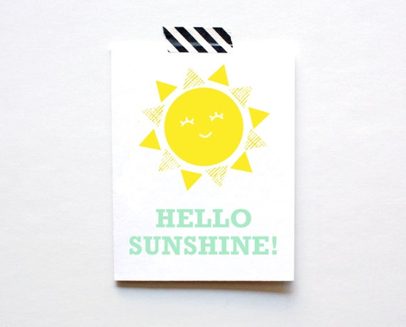Hello Sunshine, Greeting Card, Yellow, Spring Green