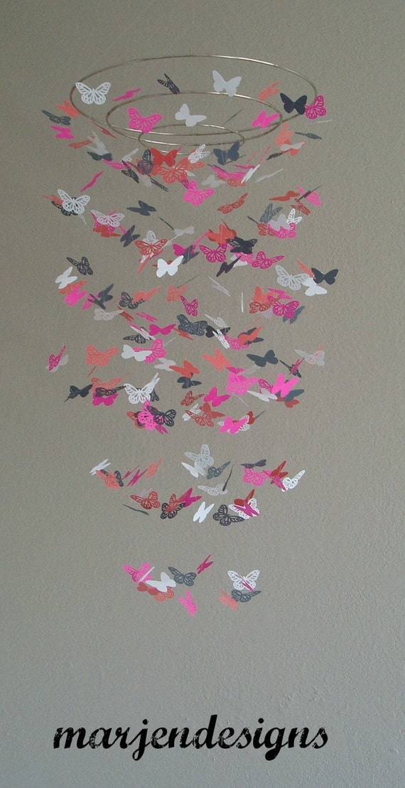 Coral grey hot pink and white butterfly mobile pink paper for Baby mobile pink and grey