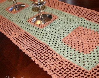 """Crochet Handmade Table Runner (36x11.5"""", frosty green & copper shown) / Elegant Home Accents / Table Centerpiece Decoration / New Home Gift"""