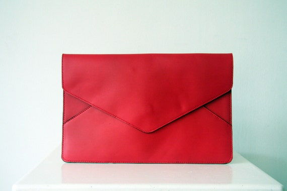 Red Oversize Envelope Leather Clutch
