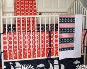 Ahoy Matey Custom Crib Bedding Set - design your own - nautical crib bedding