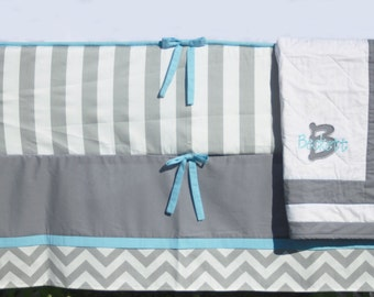 Etsy Made to Order Baby Boy Crib Bedding Set - Blue Grey Chevron White