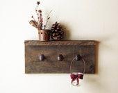 "Rustic hardware coat rack with shelf, wall hanger with 3 railroad spike hooks, 18"" x 8"" barnwood wall hooks - TumbleweedCabin"