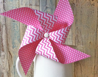 Pinwheels - Bubble Gum Zig Zag - Set of 8 Pink Chevron Patterned Pinwheels - Wedding Decor - Birthday Decor - Reception
