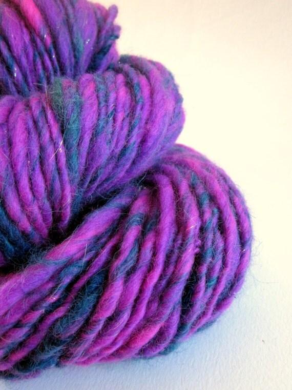 Handspun merino and alpaca yarn / wool  uk  86 yards magenta