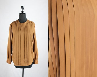 Vintage 1980s COPPER blouse // ladies medium PLEATED front shirt // long sleeve chic minimal silky top