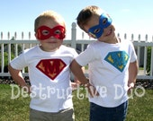 Super Hero Shirt and Mask Set - set of two shirts for twins