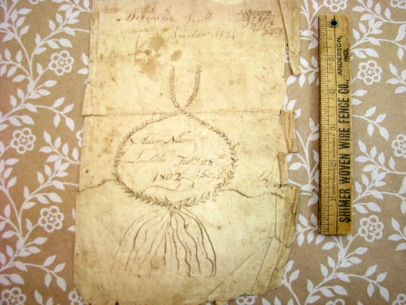Early 1800s Handwriting Sample And Artwork