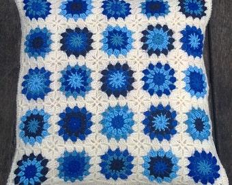 Crochet pillow, crochet blue pillow, cushion cover, crochet cover pillow