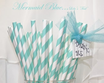 MERMAID BLUE 25 Teal Blue Paper Straws-   Wedding , Showers, Tea Party , Princess