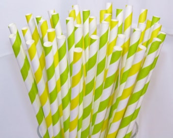 30 NEW Lemon LimeAde assorted Paper Straws 30 Lemon Yellow and Lime Green Striped Drinking Straws, Printable Flags -Party