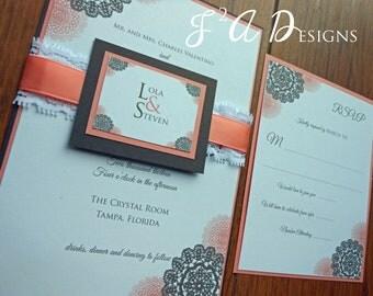 Lace and Ribbon Wedding Invitation - Brown and Coral Pink - Lace Ribbon Band