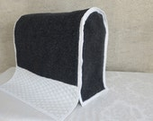 Cotton Quilted Fabric, Cream with Gray Carpet,  Tuck and Scratch Arm Cover, Round or Square.