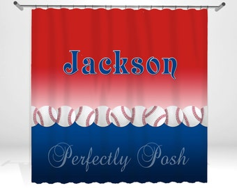 Baseball Personalized Custom Shower Curtain Monogram with Name or Initials perfect for any bathroom