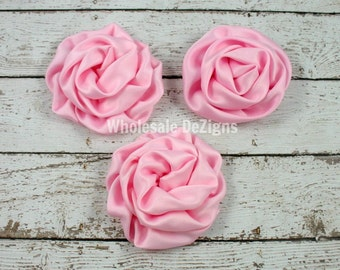 Light Pink Rolled Rosette Flowers - Satin Light Pink - Set of 3