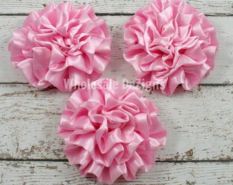 Pink Satin Ruffled Rolled Rosette Flowers - Set of 3
