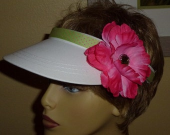 White Sun Visor with Lime Green and Pink Polka Dot Ribbon and Large Pink Flower, Ladies Sun Visor in White with Lime Green and Pink
