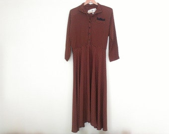 80s vintage houndstooth pattern secretary dress large
